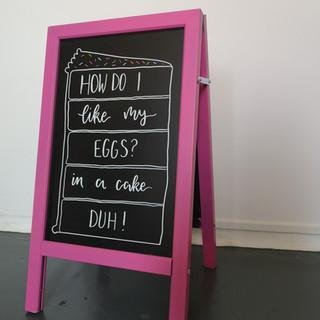 Handlettered cafe A board