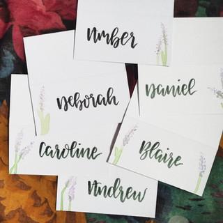 Handlettered wedding stationery