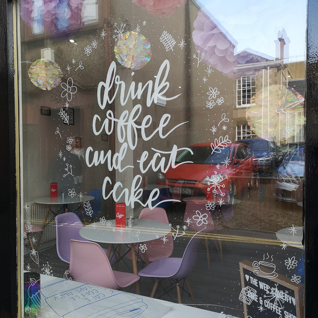 Handdrawn cafe window