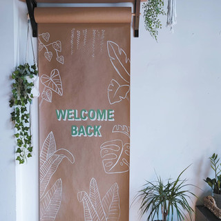 Hand painted welcome back sign