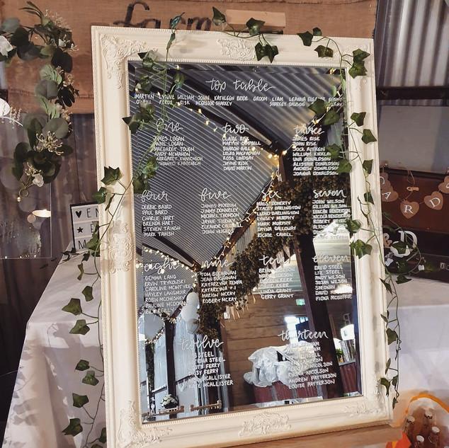Handlettered wedding mirror