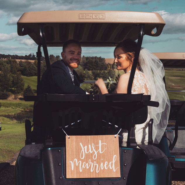 Handlettered just married sign