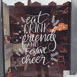 Handdrawn restaurant window