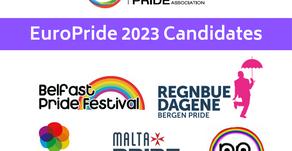 Belfast, Bergen, Hull, Malta and Rotterdam running for EuroPride 2023