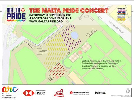 The Malta Pride Concert Seating Plan & COVID measures