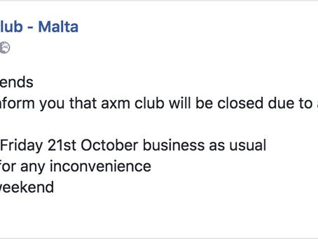 axm will be closed till Friday 21/10/16