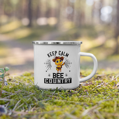Keep Calm Bee Country Enamel Mug