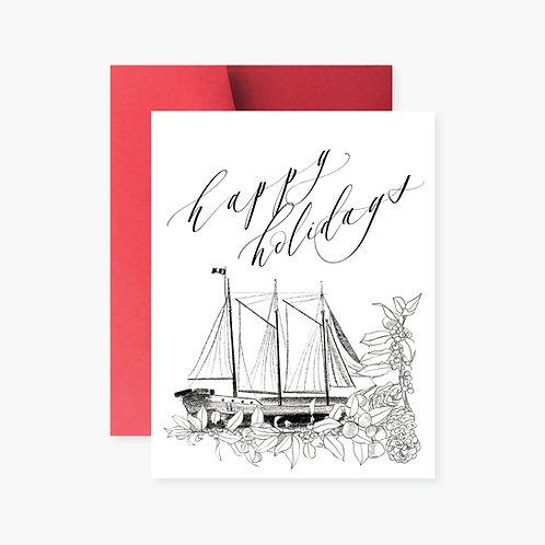 Tall Ship Silva Holiday Greeting Card
