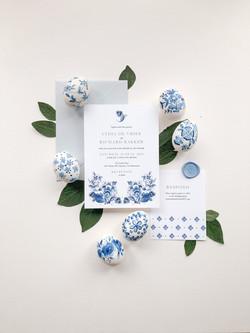Delft Blue Watercolour Wedding Invitations