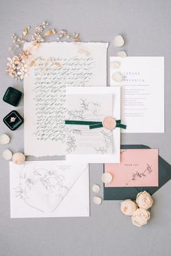 Green and Blush Wedding Invitation