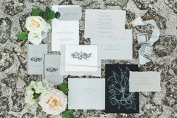 Grey Wedding Invitation with Modern Venue Illustration