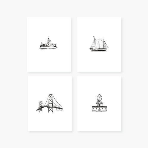 Halifax Art Prints - Set of 4