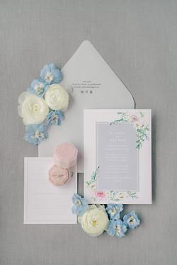 Soft Watercolour Floral Wedding Invitation