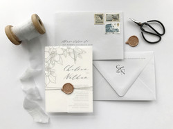 Simple Wedding Invitation with Vellum Wrap and Wax Seal