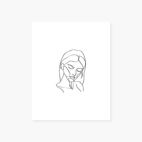Breathe In Line Art Portrait