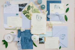Dusty Blue Elegant Wedding Invitations