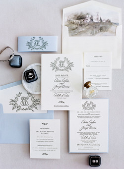 Crest and Watercolour Wedding Invitations