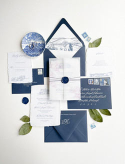Navy and White Wedding Invitation with Venue Illustrations