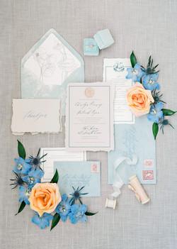 Blush and Blue Wedding Invitations with Venue Illustration