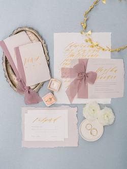 Blush Pink and Yellow Wedding Invitation