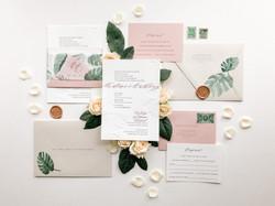 Monstera and Blush Wedding Invitations