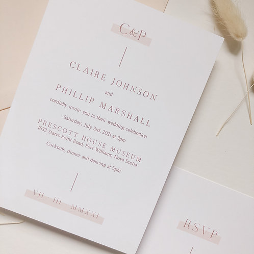 Minimalist Blush Wedding Invitation Suite