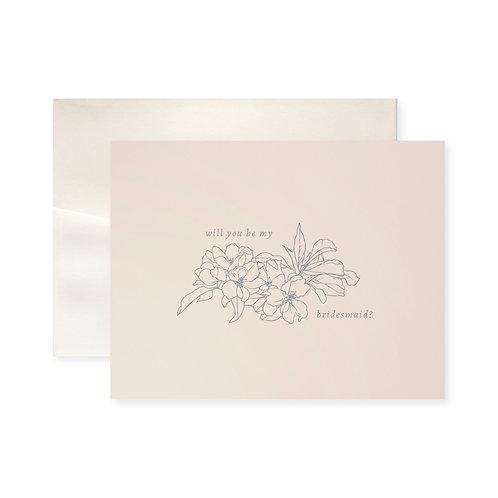 Be My Bridesmaid Blossom Greeting Card
