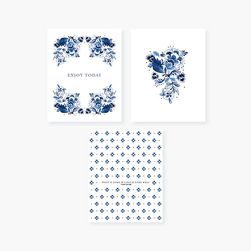 Delft Blue Inspired Art Prints - Set of 3