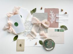 Blush and Green Winter Wedding Invitation