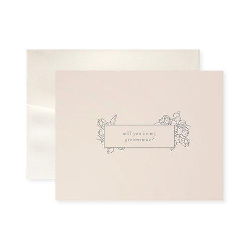 Be My Groomsman Blossom Greeting Card