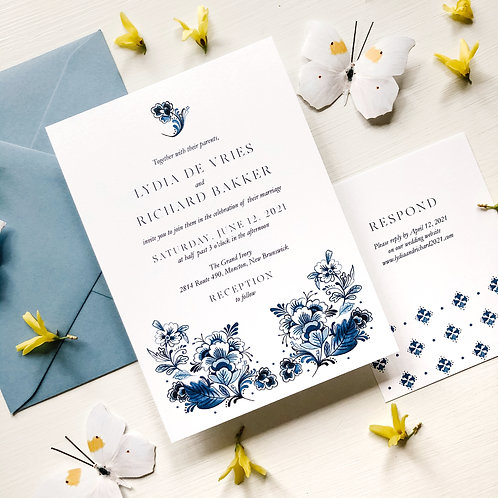 Delft Blue Wedding Invitation Suite