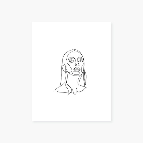 Keep Your Head Up Line Art Portrait
