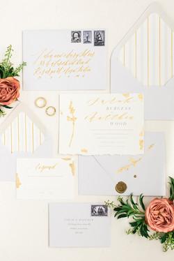 Gold and Grey Wedding Invitation