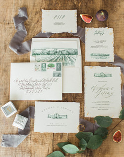 Vineyard Inspired Wedding Invitation