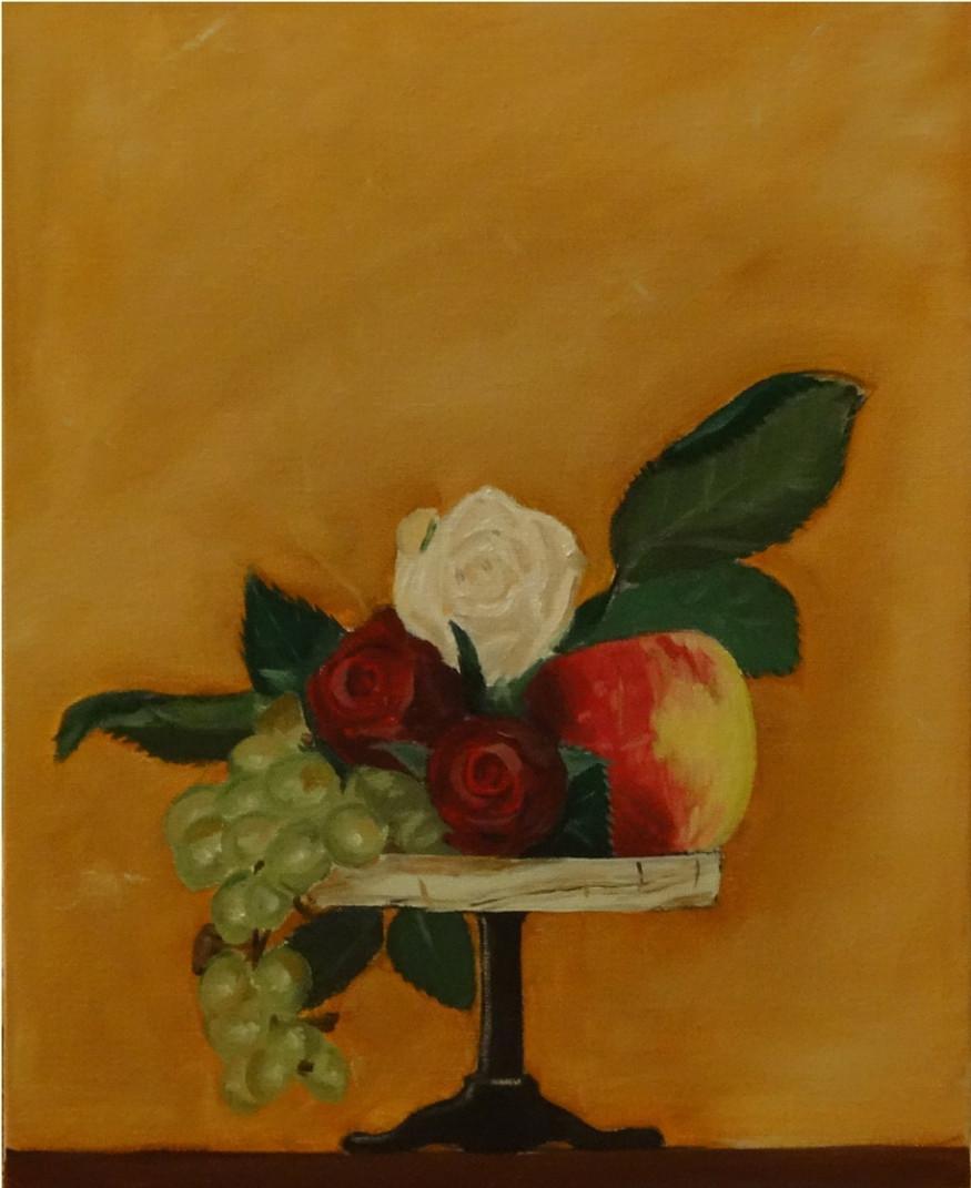 28/08/2014 : Pomme et Roses - Huile sur toile 24 x 30 cm