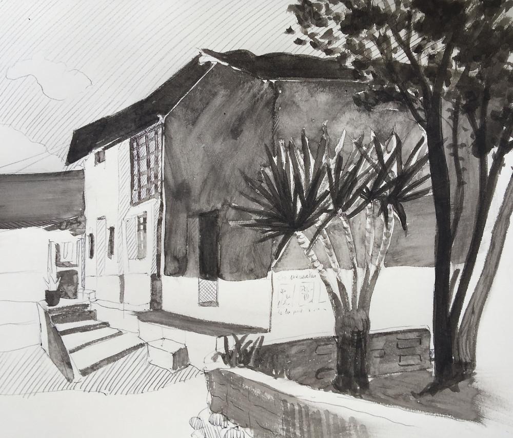 3/12/2015 : A casa Aida - encre de chine et stylo bille 21 x 29,7 cm