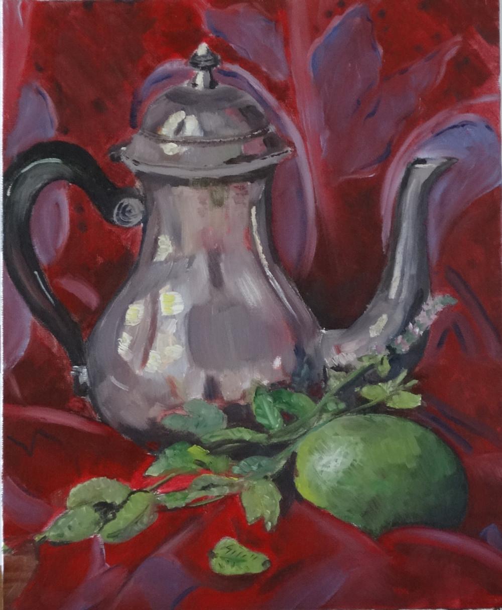 16/08/2014 : Le thé à la menthe - Huile sur toile 24 x 30 cm