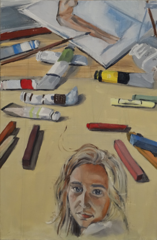 21/08/2014 : Nature morte aux pastels - Huile sur toile 27 x 41 cm