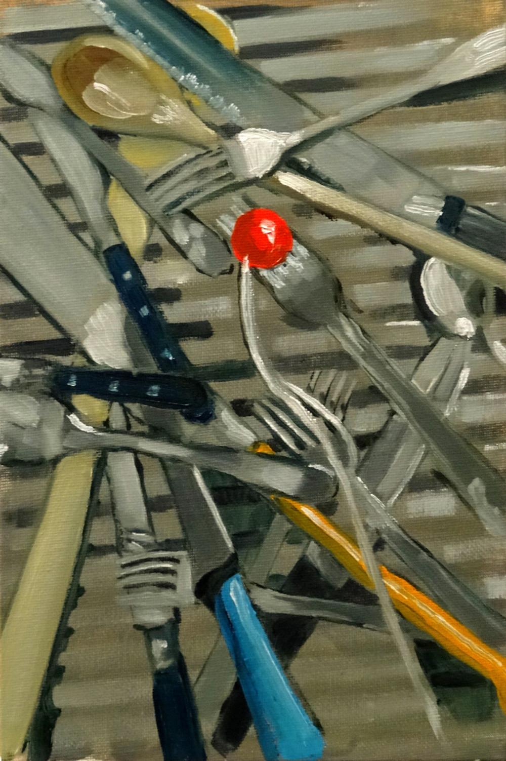 09/09/2014 : Couverts et Tomate Cerise - Huile sur toile 21 x 30 cm