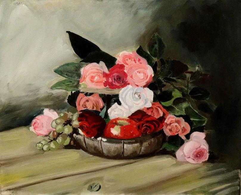 31/08/2014 : Panier de Roses - Huile sur toile 38 x 46 cm