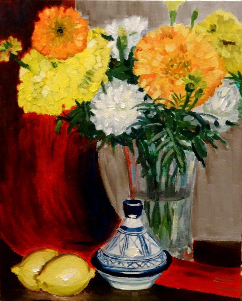 02/09/2014 : Citrons et Fleurs (bis) - Huile sur toile 24 x 30 cm
