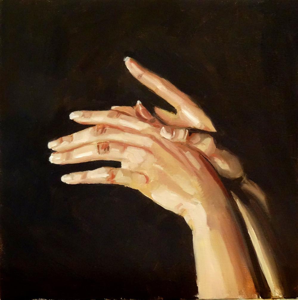 29/09/2014 : Les mains - Huile sur toile 30 x 30 cm