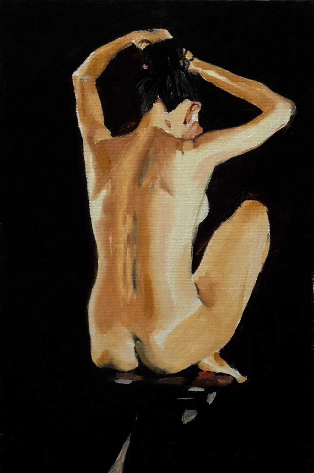 06/10/2014 : Femme de dos - Huile sur toile 20 x 30 cm