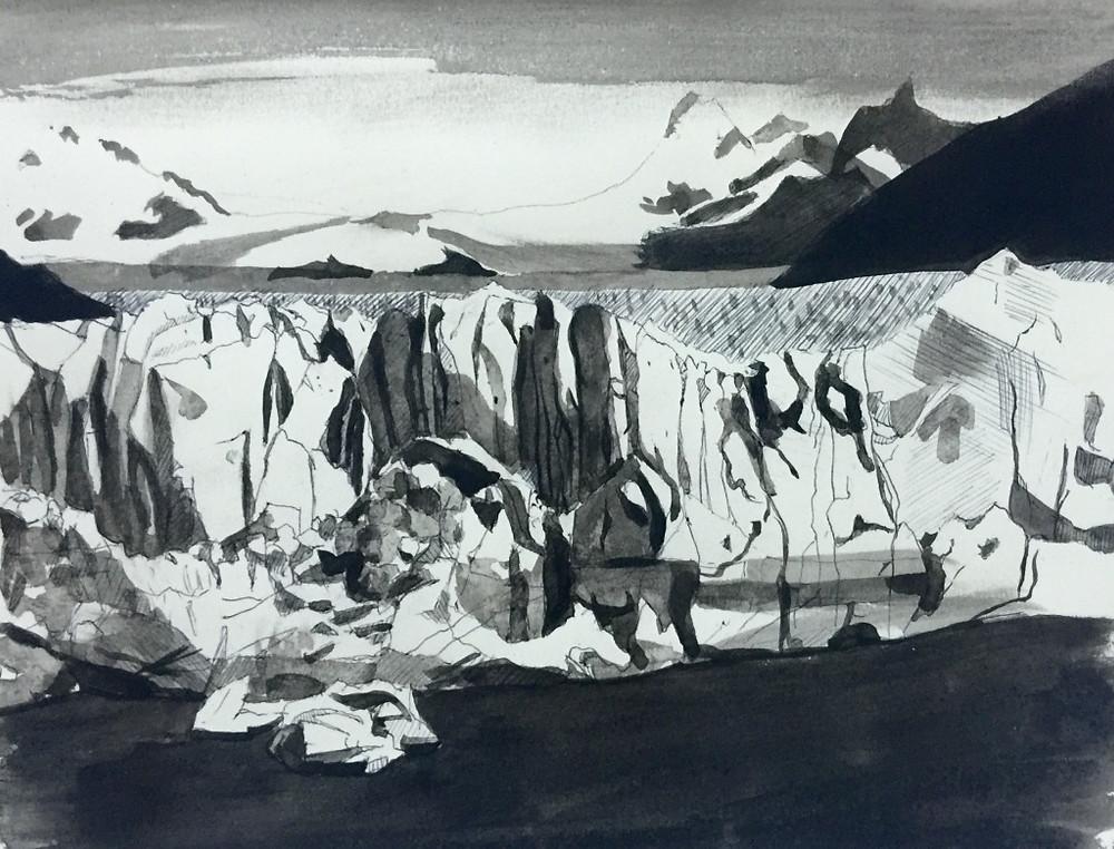 09/04/2016 : Le glacier - Encre de chine 20 x 25 cm