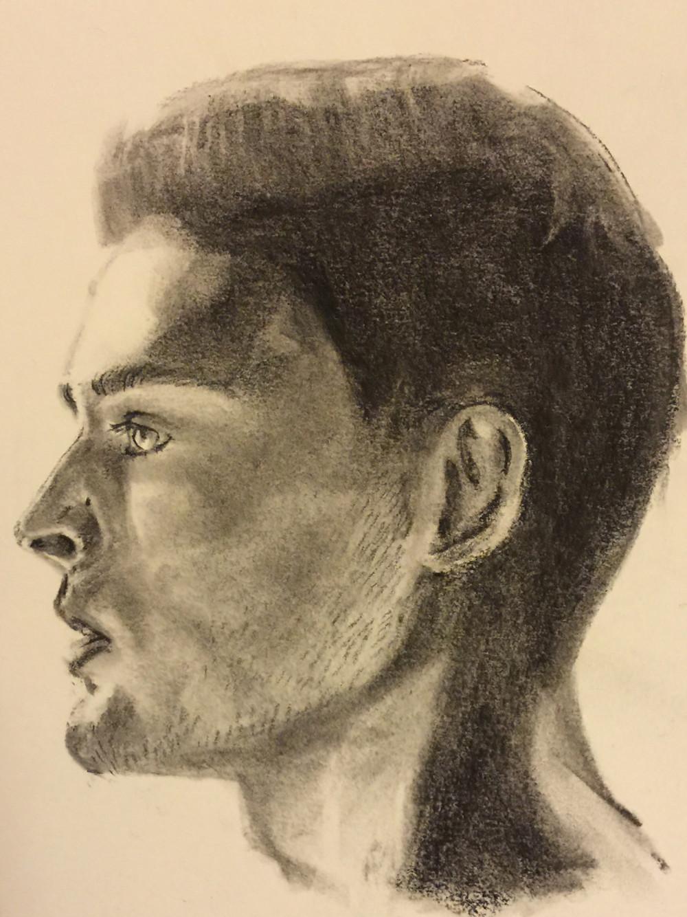 25/09/2015 : Profil masculin - 20 x 20 cm charcoal