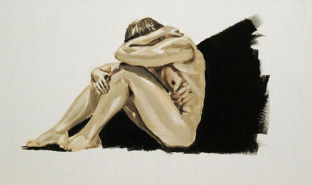 15/01/2015 : Homme Assis - Huile sur toile 20 x 30 cm