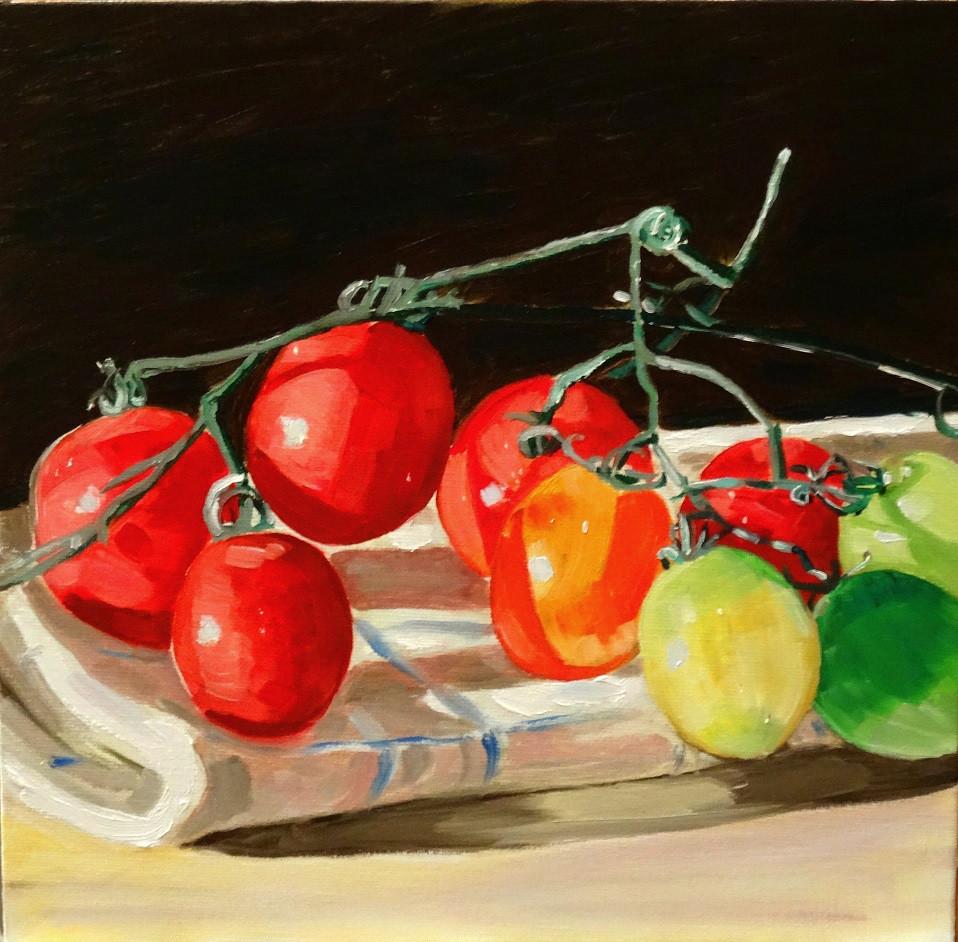 03/09/2014 : Tomates en grappe - Huile sur toile 30 x 30 cm