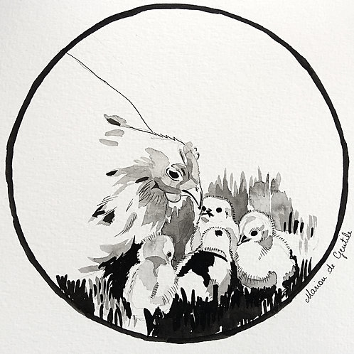 La poule et ses petits poussins