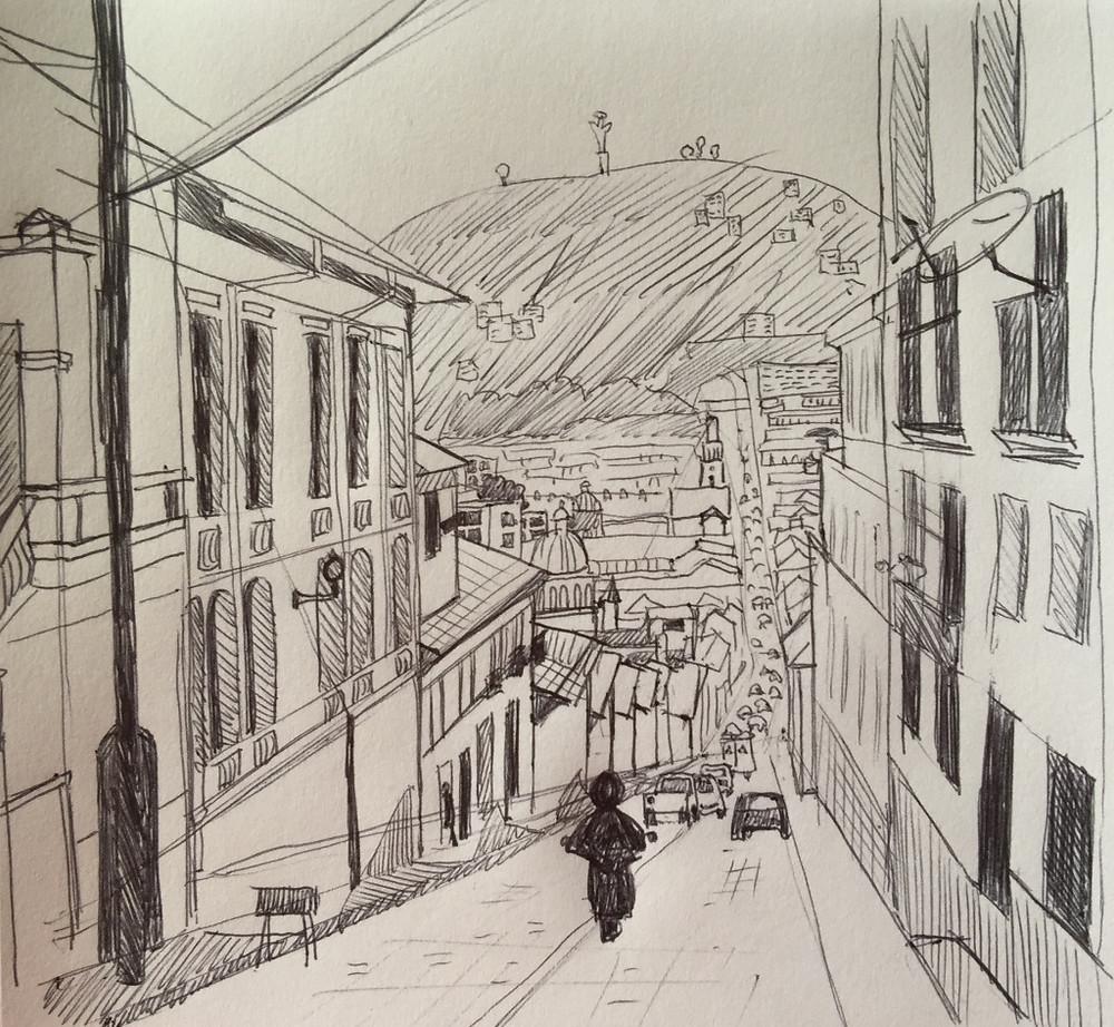 20/10/2015 Croquis de Quito : stylo bille - 15 x 15 cm