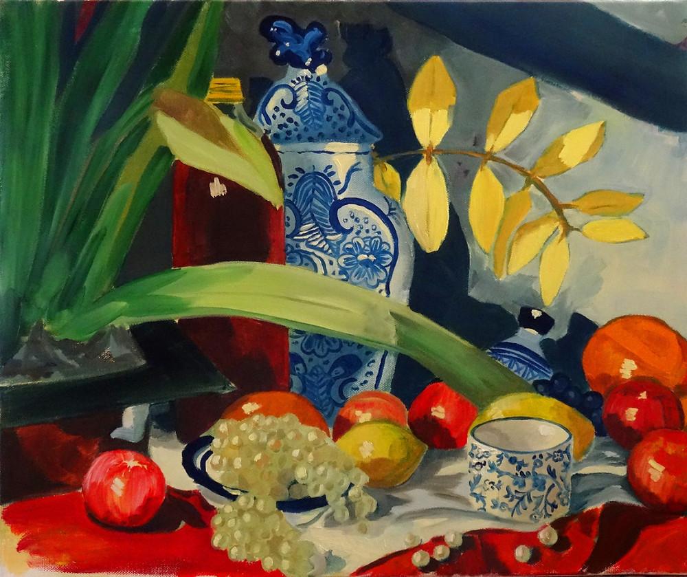 16/09/2014 : Jus de Raisins et Pot bleu - Huile sur toile 46 x 38 cm